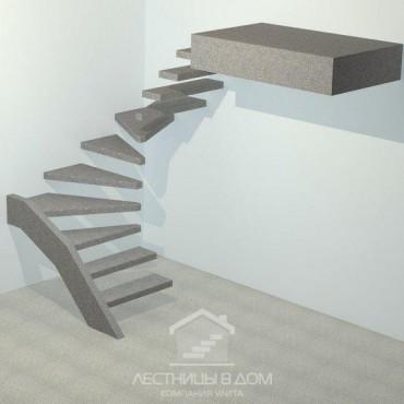 Лестница бетонная консольная П-образная