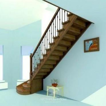 Лестница эксклюзивная Г-образная с забежными ступенями