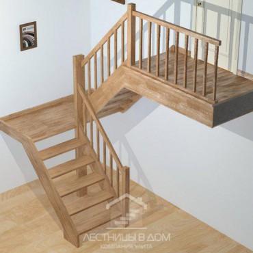 """Лестница """"эконом"""" П-образная с площадкой"""
